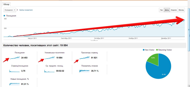 статистика роста посещаемости нового сайта
