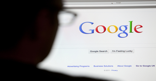 Google landing site on computer screen